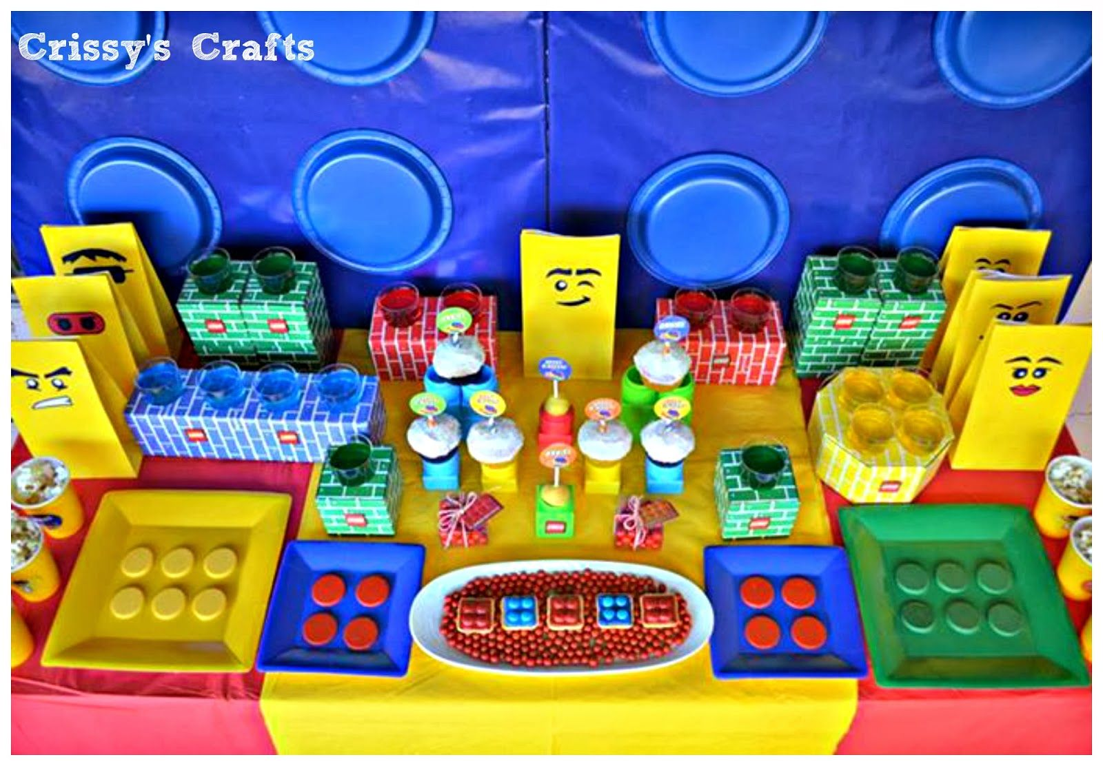 Crissys Crafts Put Together An Amazing Lego Party With Goodies From City Love The Giant Wall Made Table Covers And Plates