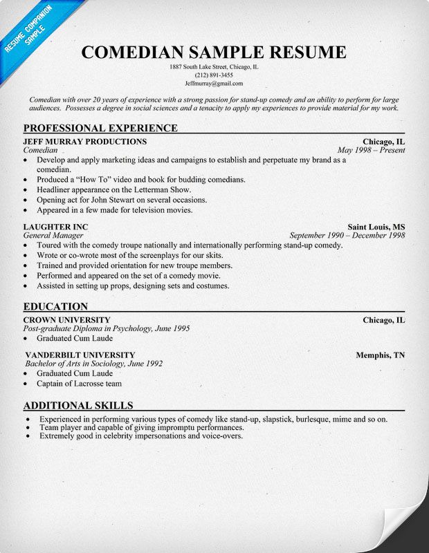comedian resume resumecompanioncom - Comedian Sample Resume