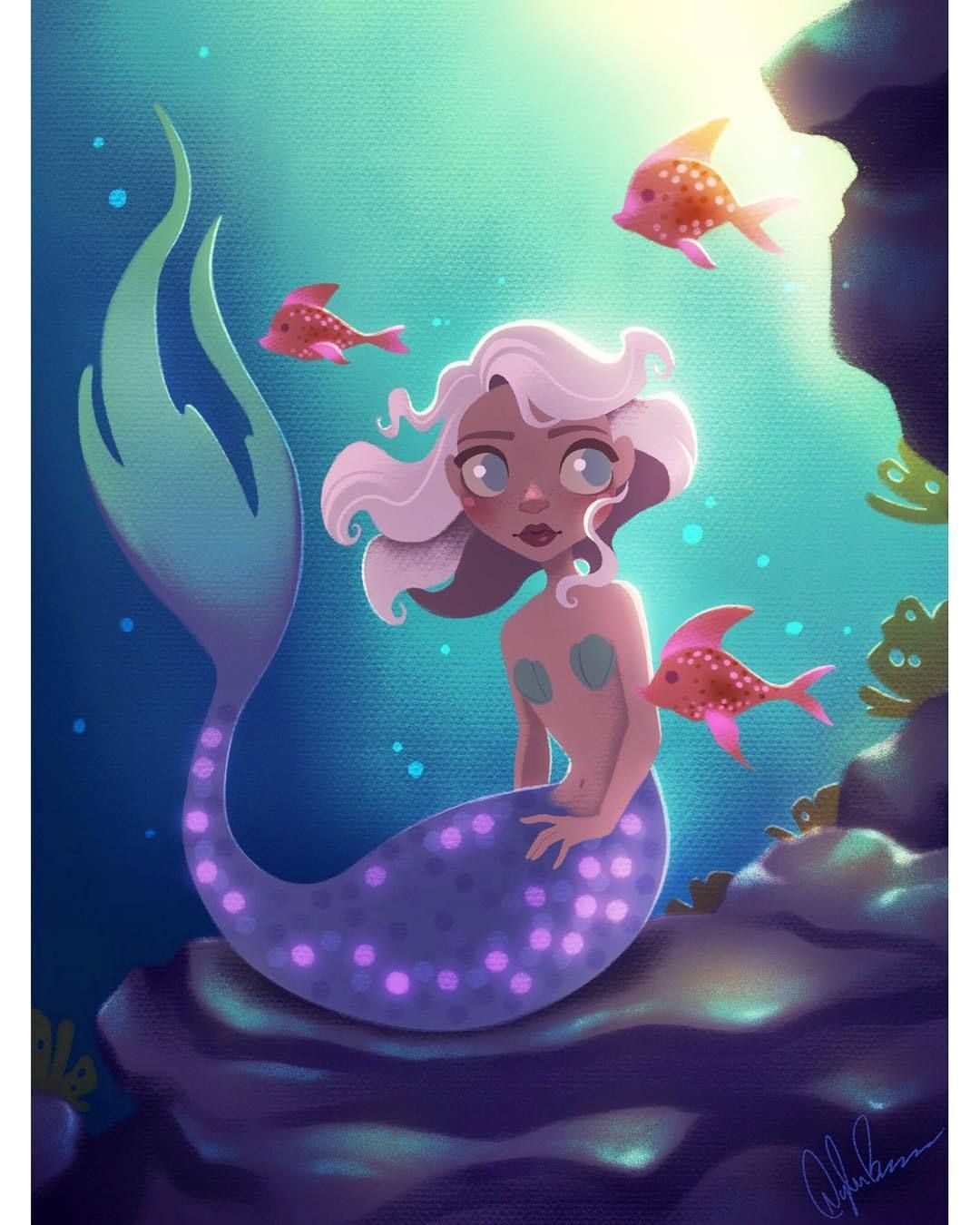 Merm With Short Lavender Hair #digitalart #digitalpainting #mermaid #mermaidhair #