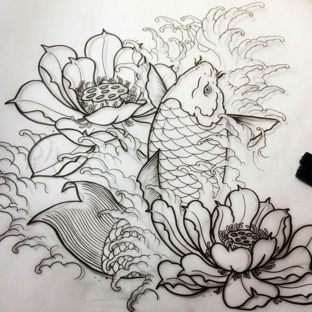 Pin by adam hurst art studios on drawing painting practice a watery koi and lotus flowers piece for later on the week izmirmasajfo Images