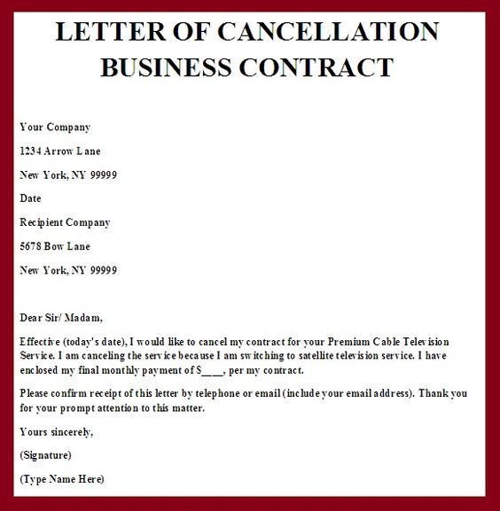 Printable Sample Contract Termination Letter Form sumaira - termination contract template