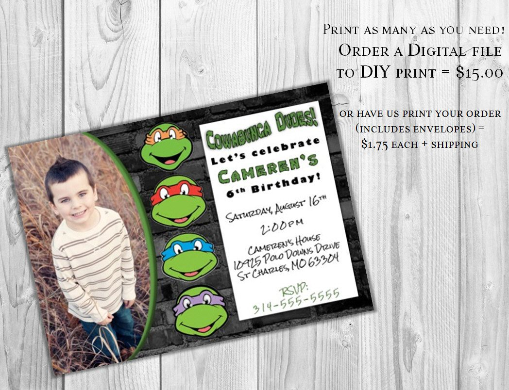 PRINTABLE Teenage Mutant Ninja Turtle Invitation by yourdayinvites ...