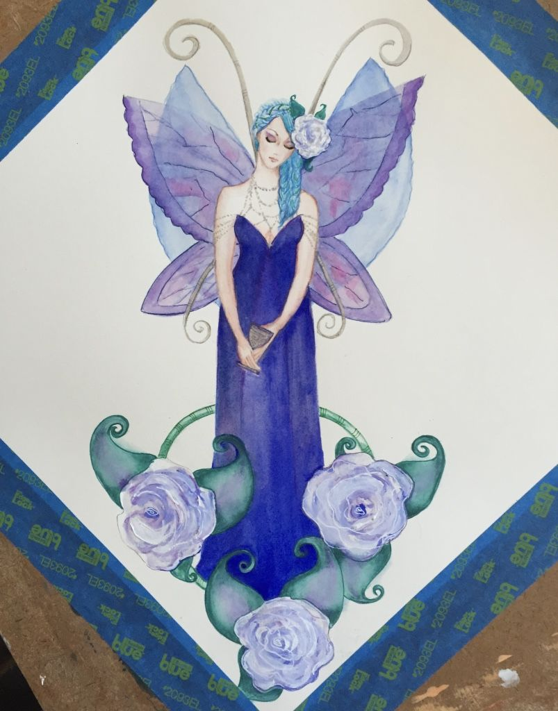 Original 33cm X 33cm original #art #watercolour #painting. This #beautiful #fairy has gorgeous #blue and #purple #wings and drinks #wine. #artist #deenoney
