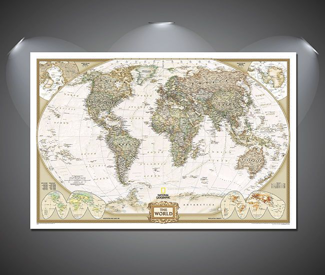 Vintage OLD Poster Print canvas map of world   old A1 A2 A3
