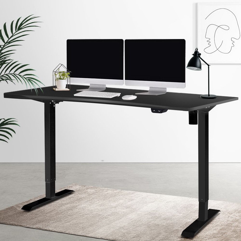 Artiss Roskos I Electric Motorised Height Adjustable Standing Desk Sit Stand Table Curved 140cm Black Adjustable Height Table Desk Adjustable Desk