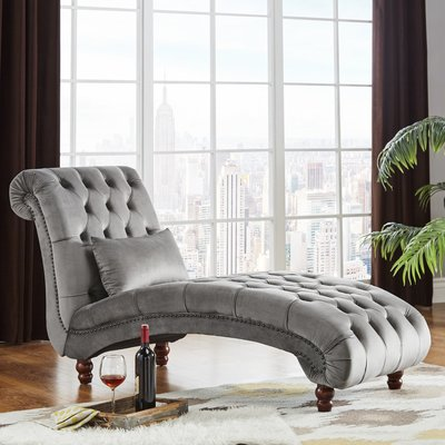 Francis Velvet Tufted Chaise Navy Arredamento Divano Vintage
