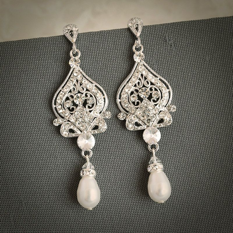 Grace Vintage Inspired Wedding Bridal Earrings White Ivory Pearl And Rhinestone Chandelier Hollywood Glamour Jewelry Via Etsy