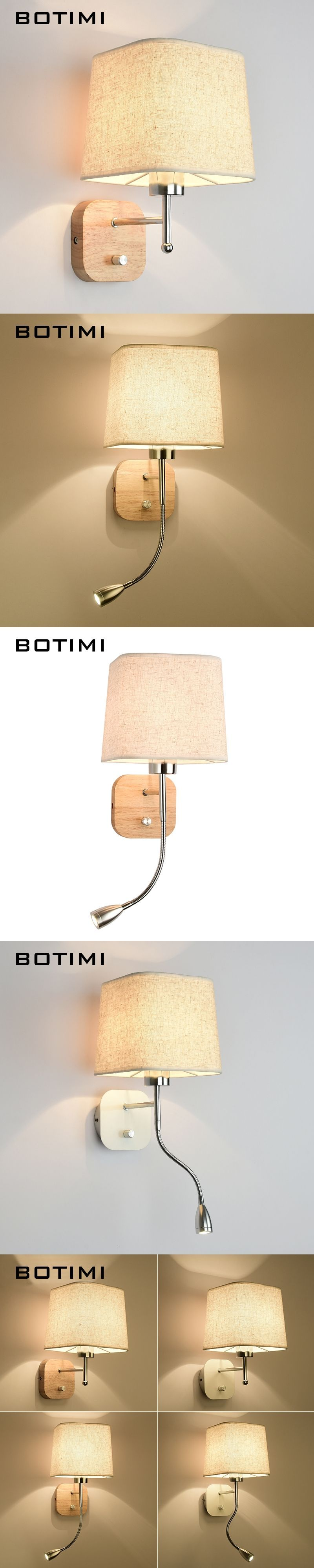 Botimi New Led Wall Lamp For Living Room Hotel Bedside Wall Sconce With Fabric Lampshade E27 Luminaire Bed Reading Home Lighting Led Indoor Wall Lamps Led Lamps