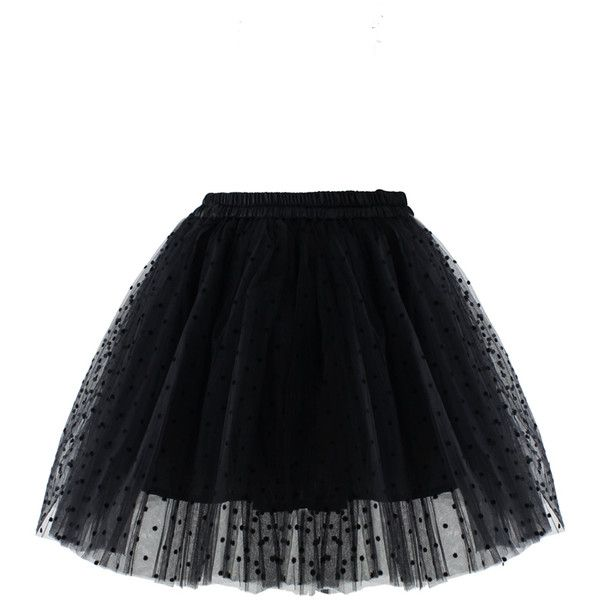 Chicwish Polka Dots Tulle Skirt in Black (£30) ❤ liked on Polyvore featuring skirts, bottoms, saia, black, layered tulle skirt, chicwish skirt, elastic skirt, tulle skirt and layered skirt