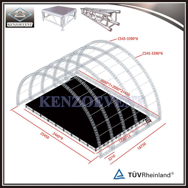 Hot Item Aluminum Event Stage Truss Curved Truss C Channel Roof Truss Roof Truss Design Roof Trusses Roof Architecture