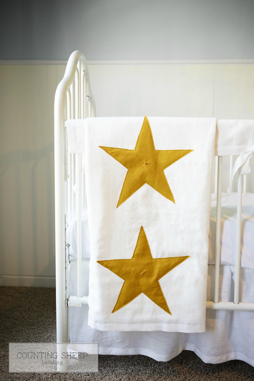 Linen Crib Quilt, Baby Blanket, Gender Neutral Baby