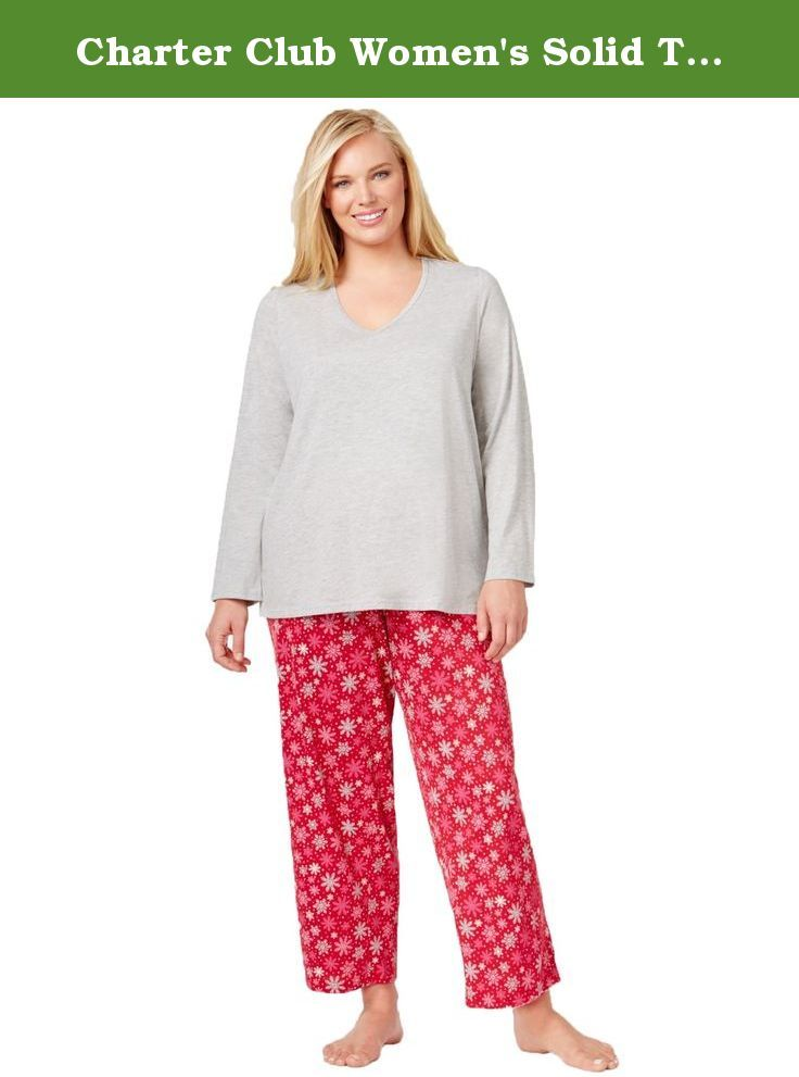 5eedeaa9a83c Charter Club Women s Solid Top and Printed Pajama Pants Set (XXL