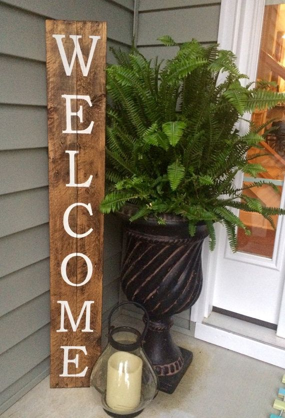 Welcome Sign On Reclaimed Wood Rustic Welcome Sign Woods Rock And Porch
