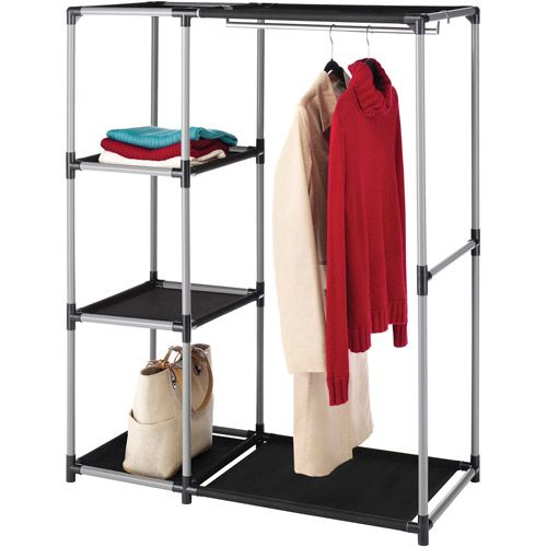 Walmart Clothes Hanger Rack Captivating Whitmor Resin Garment Rack And Shelves Blackgray  My Little Bo Review