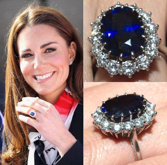 Meghan Markle Kate Middleton Princess Diana Inspired White Gold Sapphire Diamond Ring Engagement Sapphire Ring Princess Diana Engagement Ring Diana Engagement
