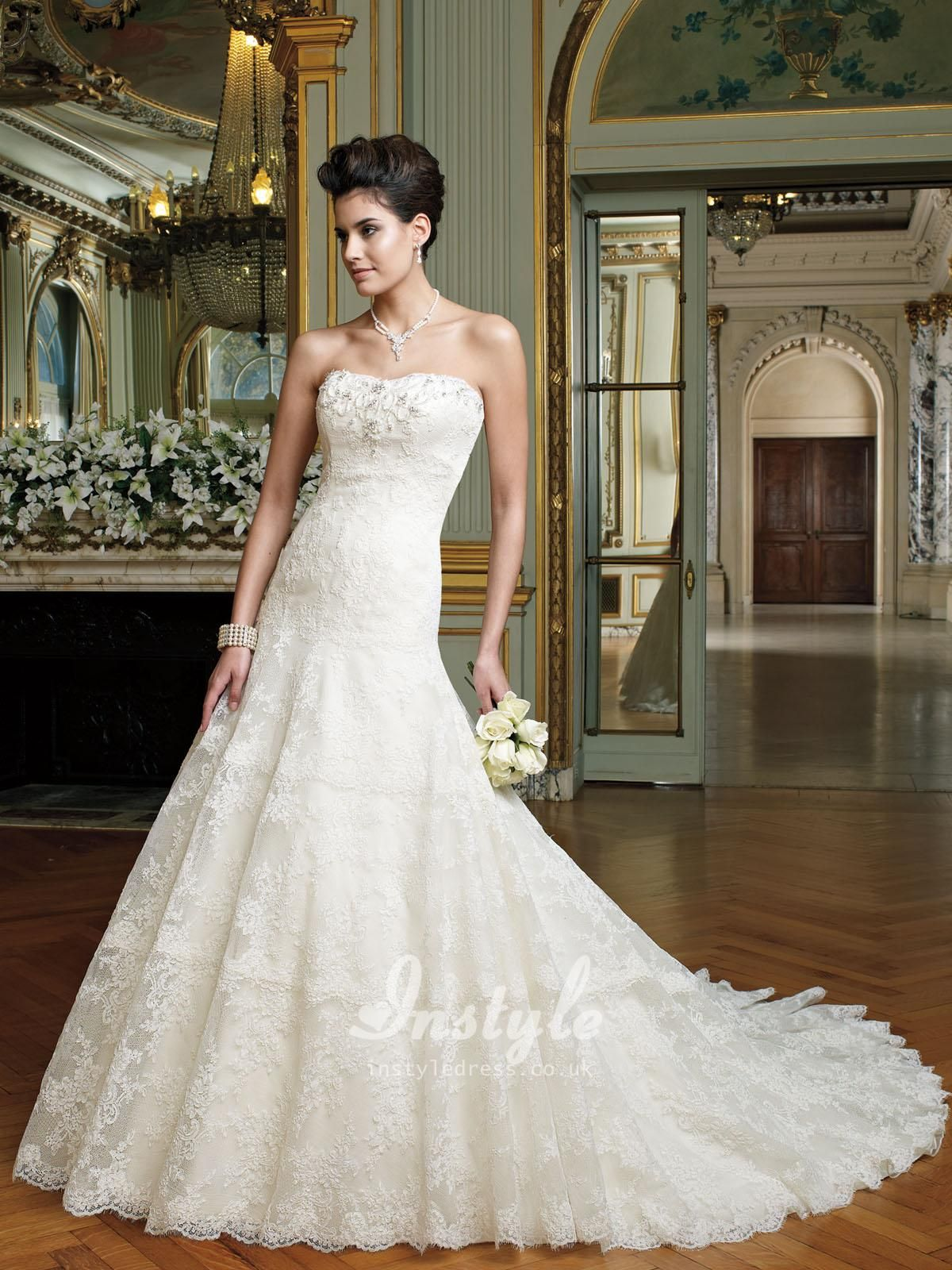 embroidered lace strapless a-line wedding dress uk with dropped ...