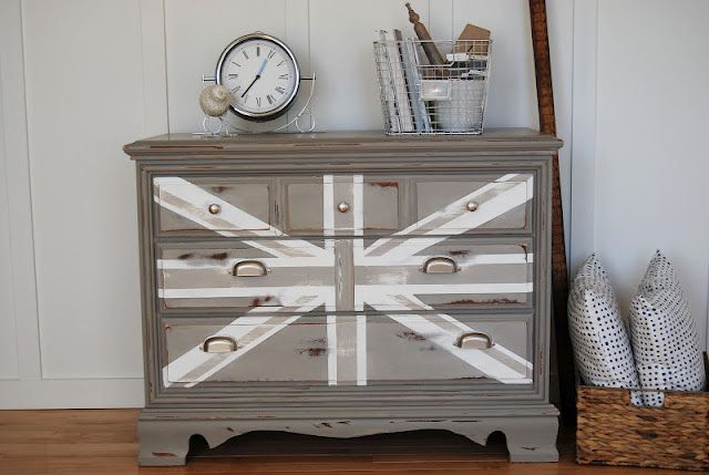 painted furniture union jack autumn vignette. Furniture: Gray Painted Union Flag Monochromatic Wood Dresser By Courtney Of Reckless Glamour And Classic Table Watch Decoration Ideas: Wonderful DIY Furniture Jack Autumn Vignette E