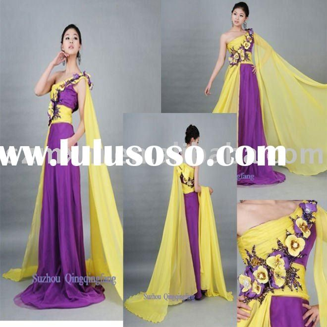 Yellow and purple dress