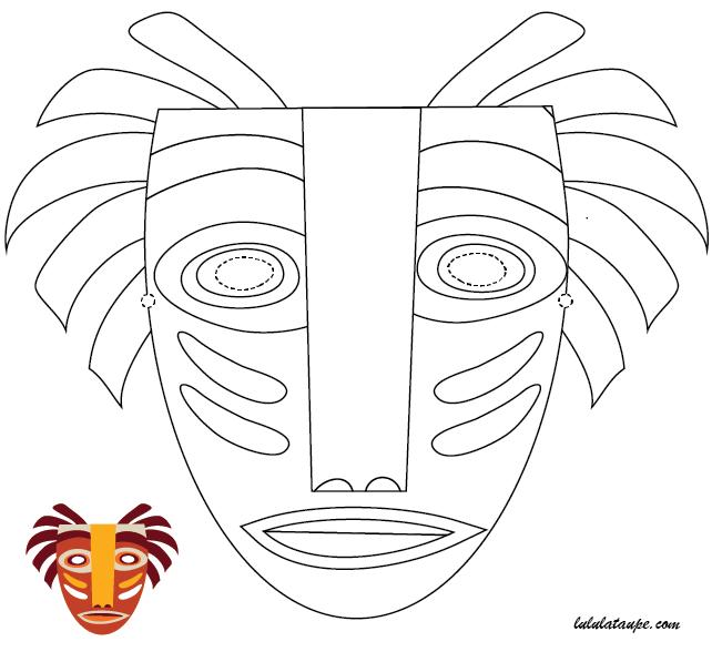 Activit manuelle facile un masque africain d couper - Dessin de masque africain ...
