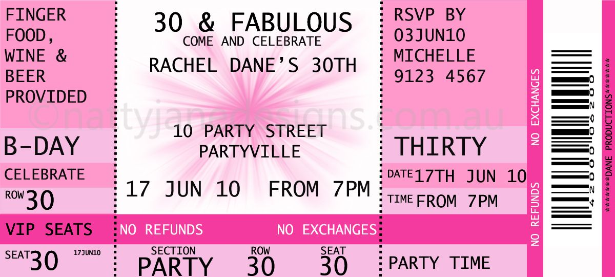 Birthday U0027concert Ticketu0027 Themed Invitation   Custom Designed To Suit Your  Colours.  Concert Ticket Maker