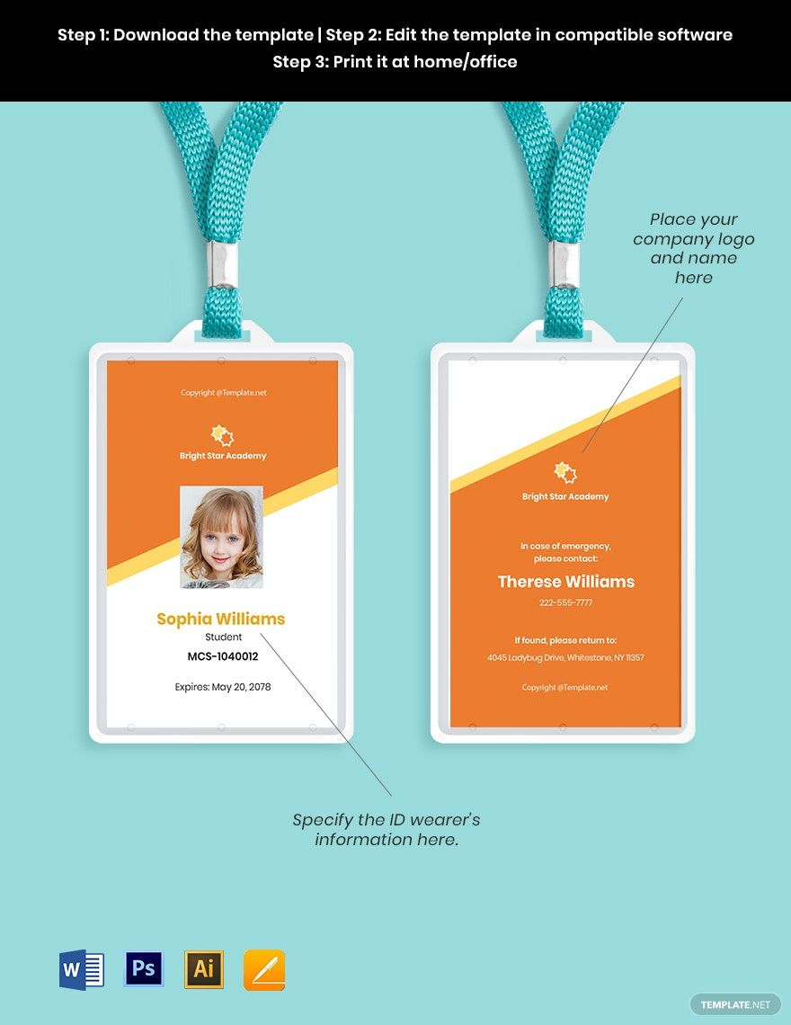 Free Vertical School Id Card Template Word Doc Psd Apple Mac Pages Illustrator Id Card Template School Id School Template