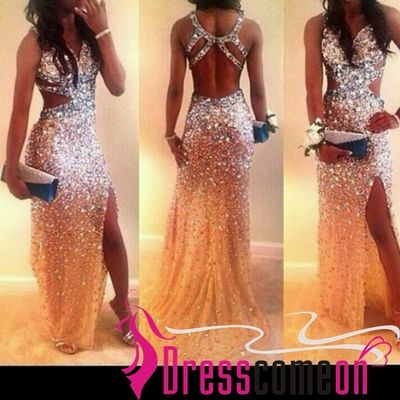 New Sexy Mermaid With Gold Heavy Crystal High Slit Prom Dress ...