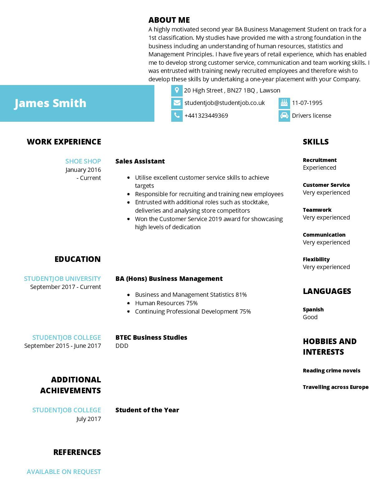 Resumes Templates For Students in 2020 Student resume