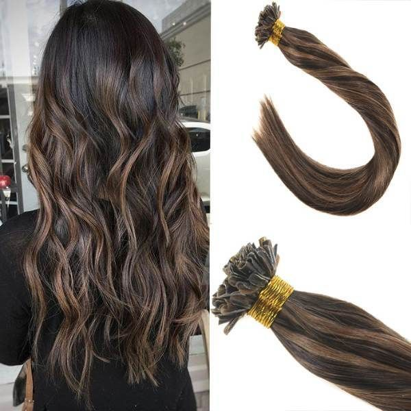 Keratin U Tip Brown Highlighted Human Hair Extensions #2/6 #hairextensions#brown #extensions #hair #hairextensions #highlighted #human #keratin #tip