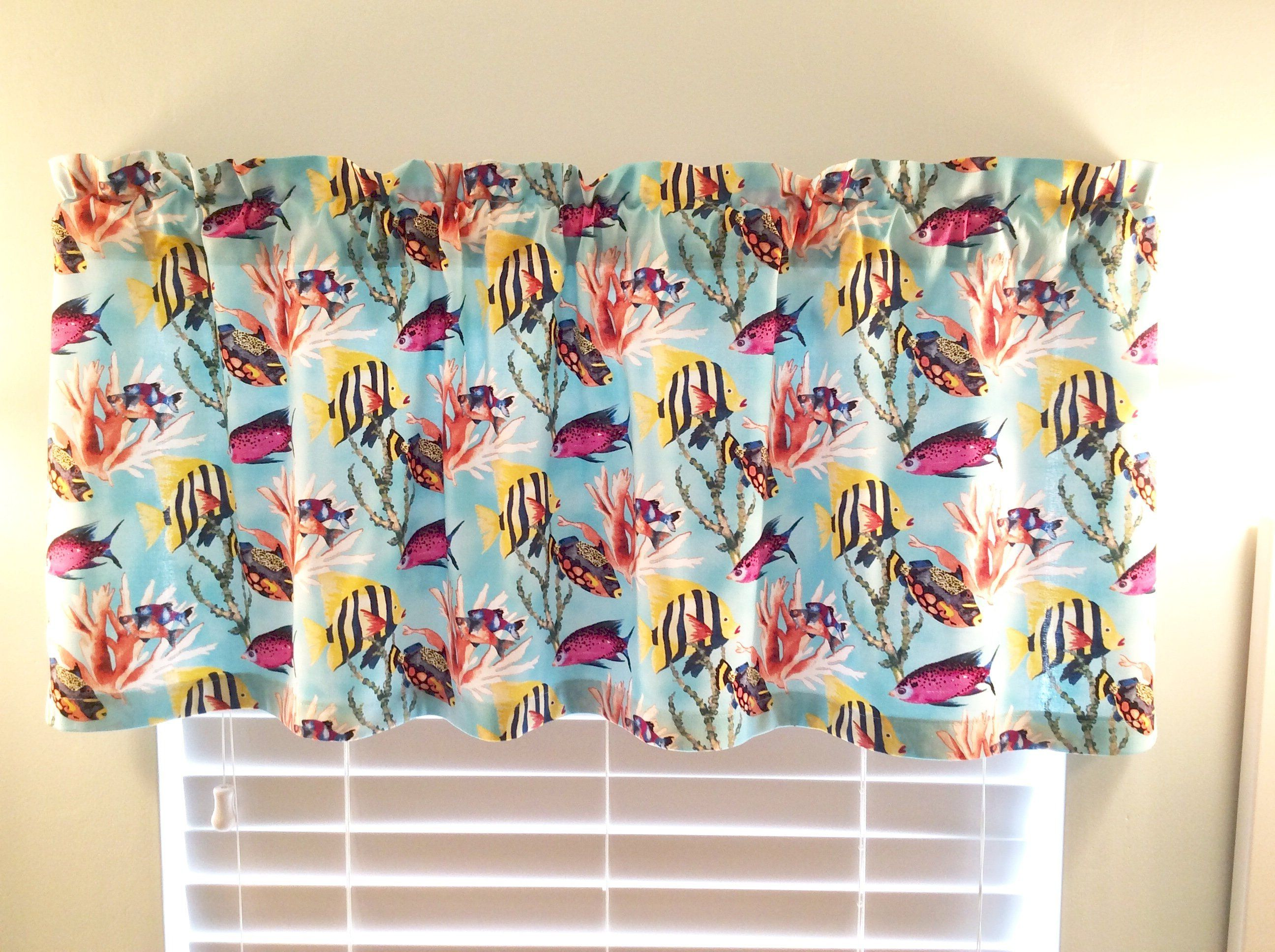 Tropical Window Valance With Colorful Fish And Coral Design On
