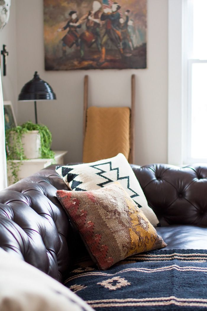 Eclectic Living Room With A Boho Vibe   Kilim Pillows, Saddle Blanket,  Tufted Leather