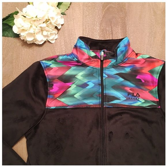 NWOT FILA sport fleece jacket Never worn, black freece-ish/fur feel with bold, vibrant print on top. So soft!! Full zipper and interior and exterior pockets. 100% polyester Fila Jackets & Coats