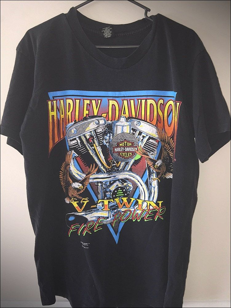 bdf7d7e93e Vintage 90's V Twin Fire Power Double Sided Harley Davidson Shirt - Size  Large by JourneymanVintage on Etsy