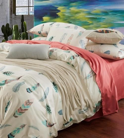 Colorful Feather Bedding Set King Size Queen Full Double Pink Bed