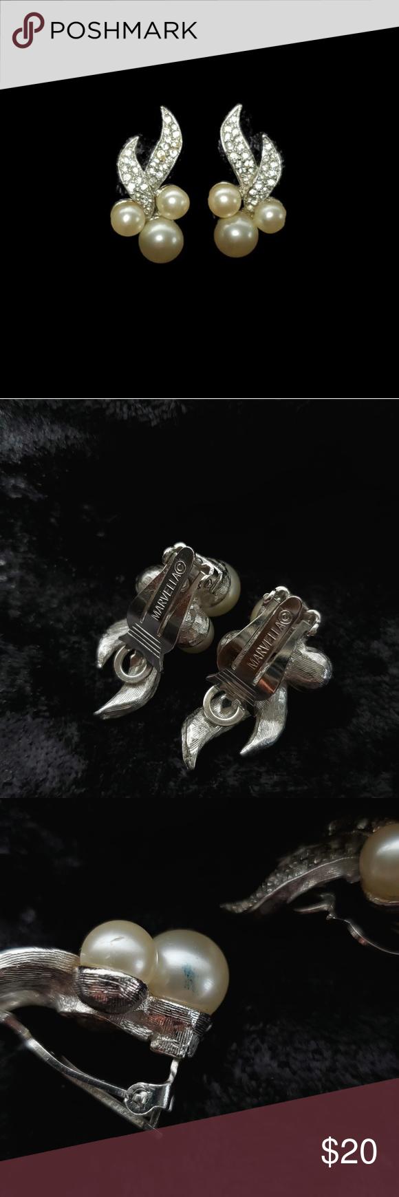 Vintage Marvella Faux Pearl Clip On Earrings Vintage