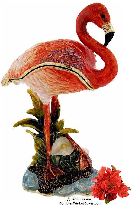 TREASURED TRINKETS Pair of Flamingos Trinket Box