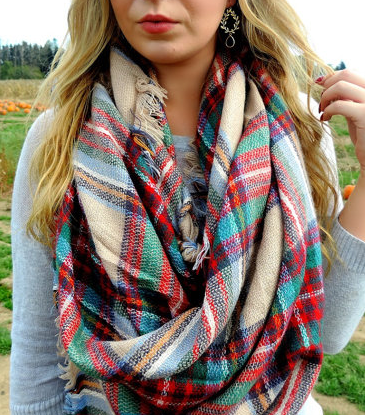 plaid fall blaket scarf