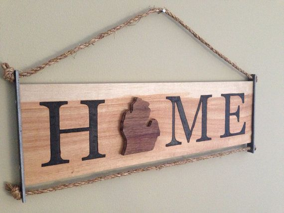 FAST SHIPPING BEFORE CHRISTMAS!! 7.5 x 21 Michigan Home on natural Birch board with Walnut Michigan cutout and wood burned letters.