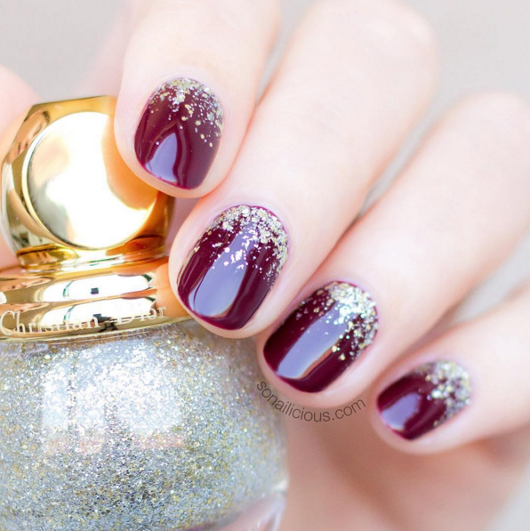 Burgundy sparkle via Instagram/so_nailicious #wedding #nails #engagement…