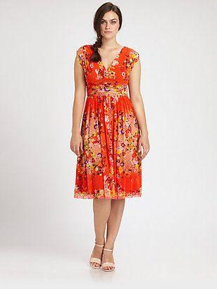 8bba8cc7959 Fuzzi Plus Size Ruched Printed V-Neck Dress