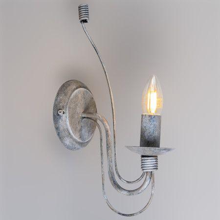 Aplique ZERO BRANCO 1 gris envejecido - Lámpara de pared tradicional en color gris envejecido de estilo clásico.