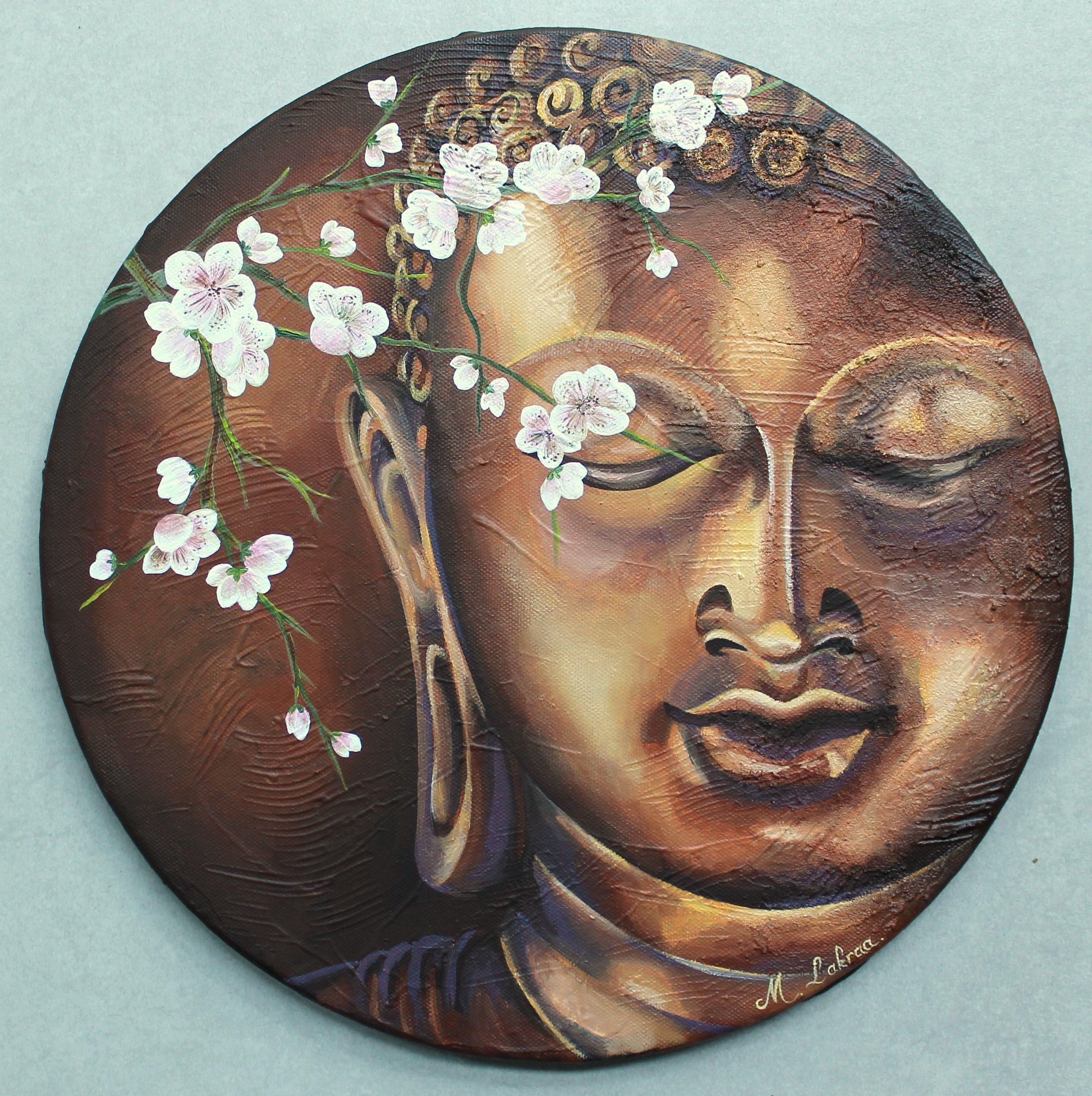 Bouddha et fleurs de cerisier commande peinture acrylique sur toile fond textur au gesso for Peinture acrylique sur toile