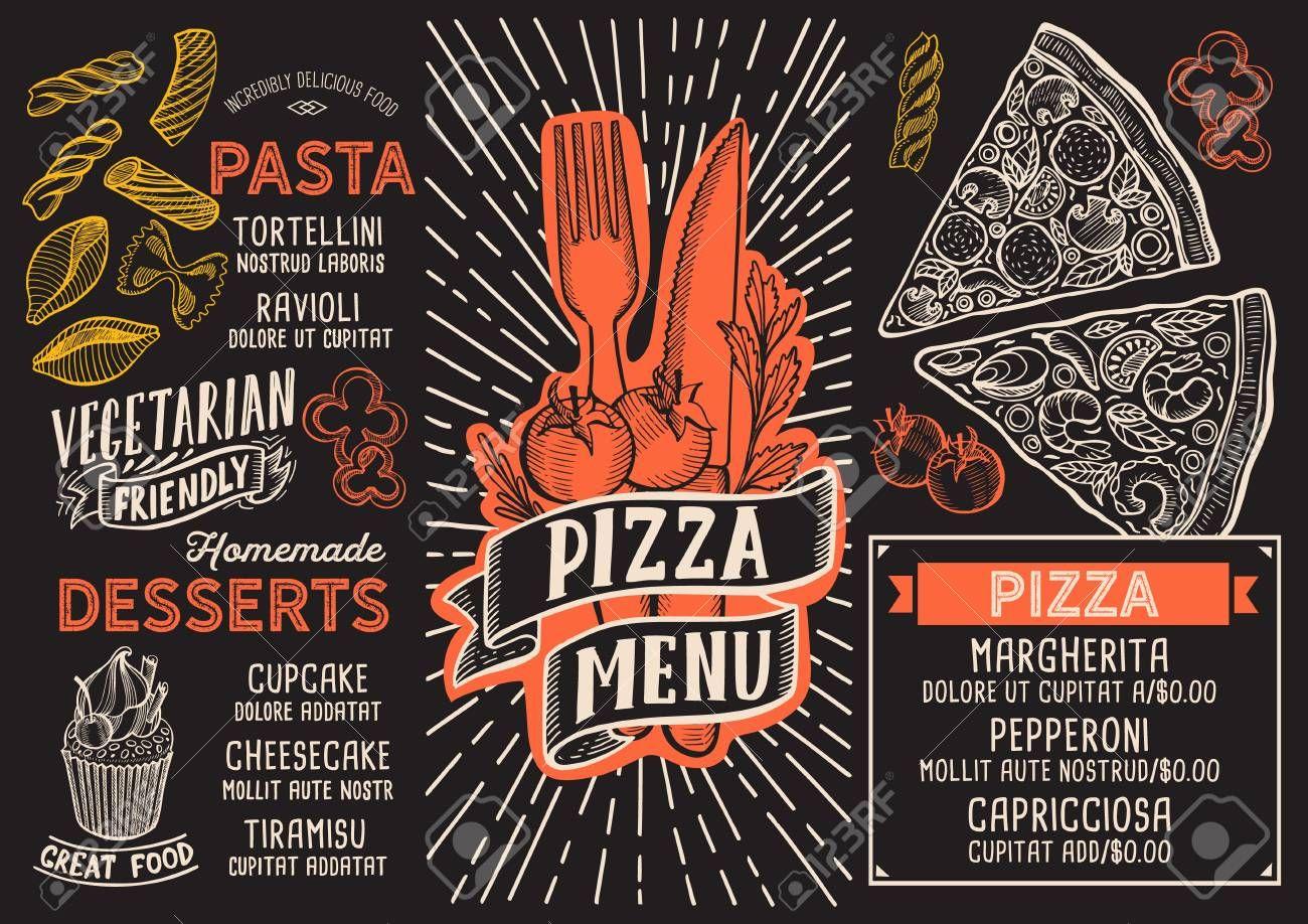 Pizza Menu Template For Restaurant On A Blackboard Background Sponsored Template Menu Pizza B Illustration Brochures Vintage Lettering Menu Template