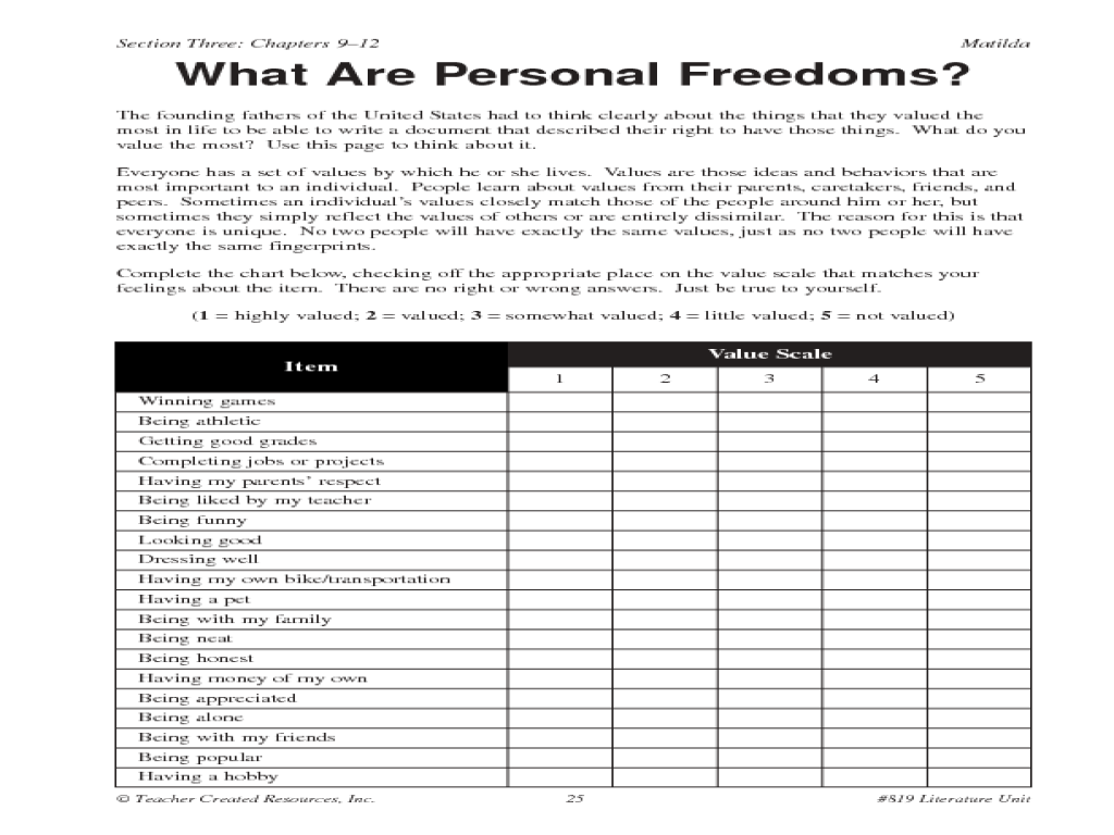 Honesty And Personal Freedoms Worksheet