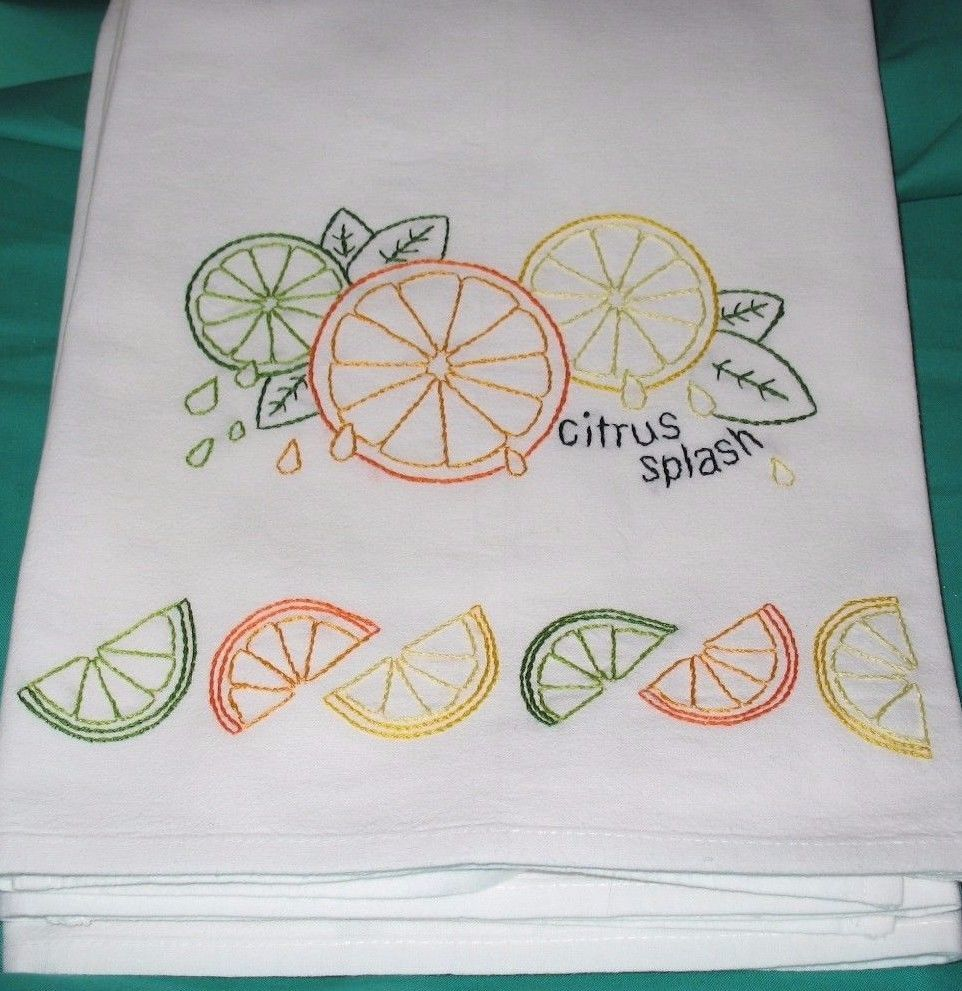 CITRUS SPLASH-New hand embroidered flour sack 30X30 dish towel #dishtowels