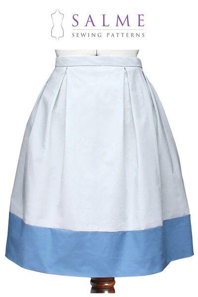 Sewing Pattern - Color Block Pleat Skirt | Stuff to sew | Pinterest ...