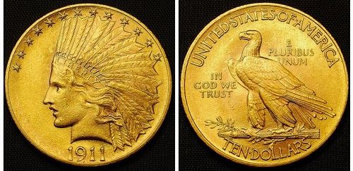 1911 10 Gold Indian Eagle Ms 62 Gold Coins Gold And Silver Coins Silver Coins