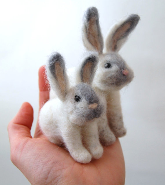 Felted Bunnies. Woodland Animals. Needle Felted Animals. Miniature Animals. Wool Felt Animals. Animal Toys. Gifts For Mom. Girl Gifts.