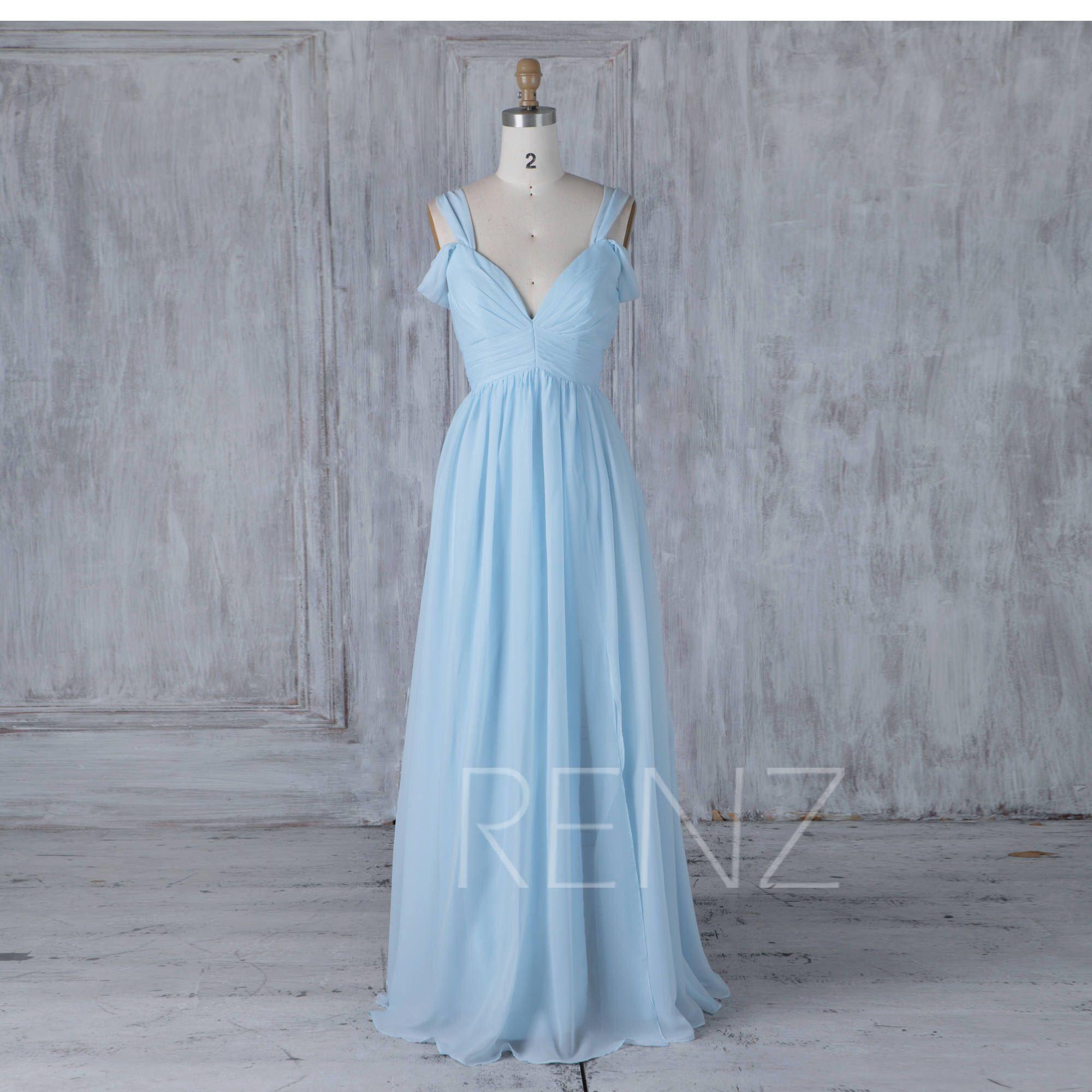 Bridesmaid Dress Light Blue V Neck Chiffon Wedding Dress Off Shoulder Sleeves Long Prom D Chiffon Party Dress Baby Blue Bridesmaid Dresses Blue Chiffon Dresses