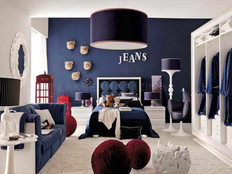 Boys Red Bedroom Ideas Part - 23: Red White Blue Denim Themed Boys Bedroom Ideas