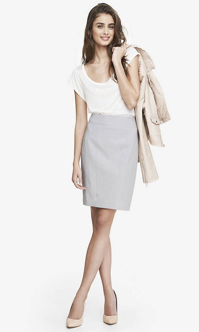 ee4f2caf5 HIGH WAIST SEAMED PENCIL SKIRT - GRAY | Express ($70) | work outfits ...